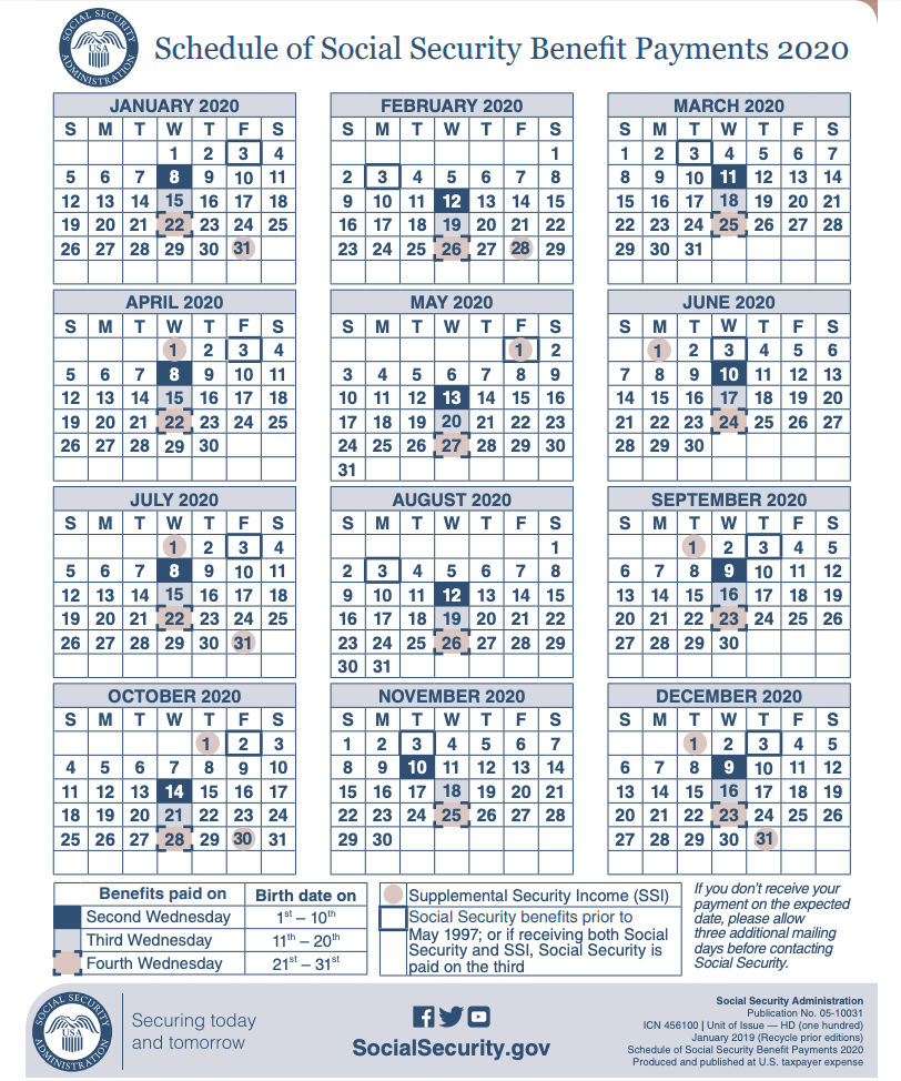"""2020 Social Security Payment calendar"""